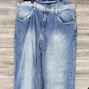 Mens Enyce Stonewashed Blue Jeans